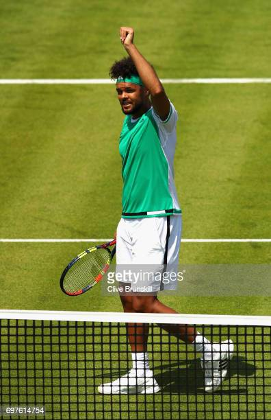 JoWilfried Tsonga of France celebrates victory during the mens singles first round match against Adrian Mannarino of France during day one of the...