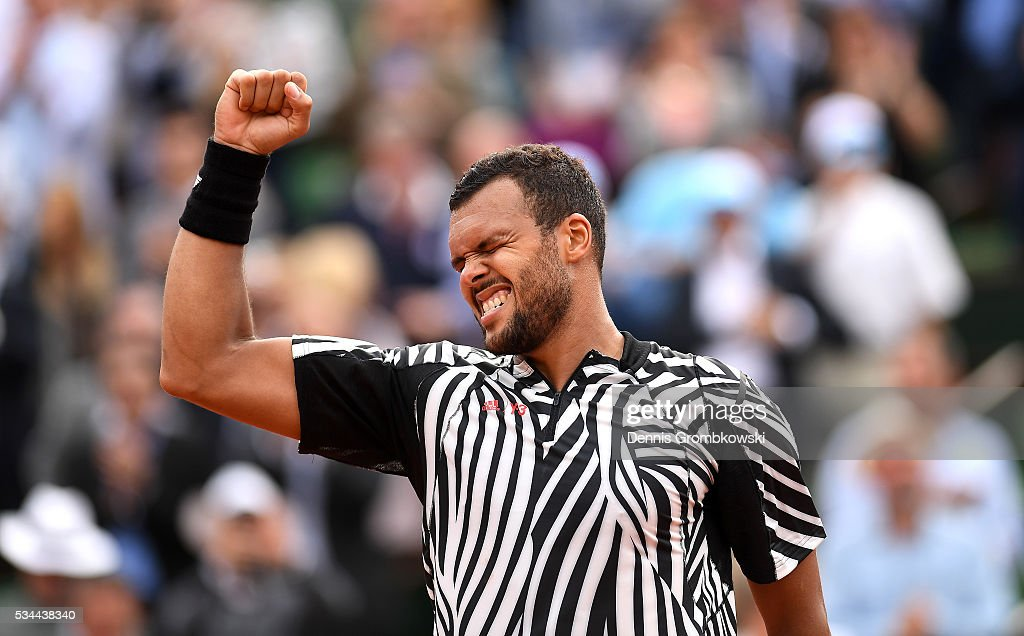 <a gi-track='captionPersonalityLinkClicked' href=/galleries/search?phrase=Jo-Wilfried+Tsonga&family=editorial&specificpeople=553803 ng-click='$event.stopPropagation()'>Jo-Wilfried Tsonga</a> of France celebrates victory during the Men's Singles second round match against Marcos Baghdatis of Cyprus on day five of the 2016 French Open at Roland Garros on May 26, 2016 in Paris, France.