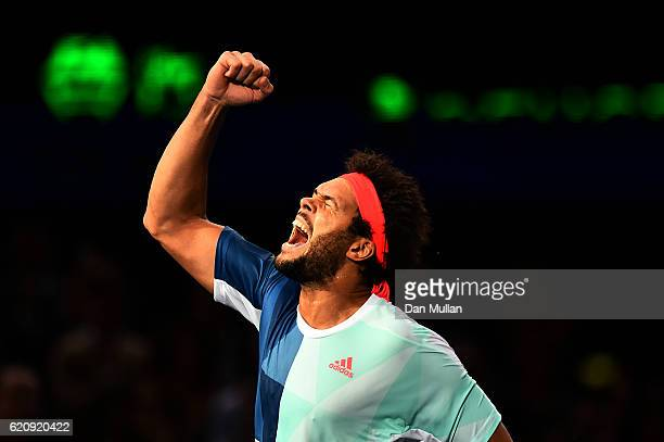 JoWilfried Tsonga of France celebrates victory over Kei Nishikori of Japan during the Mens Singles third round match on day four of the BNP Paribas...