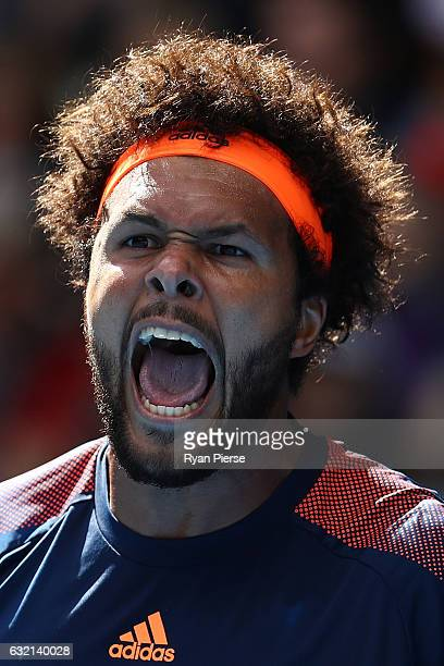JoWilfried Tsonga of France celebrates winning a point in his third round match against Jack Sock of the United States on day five of the 2017...
