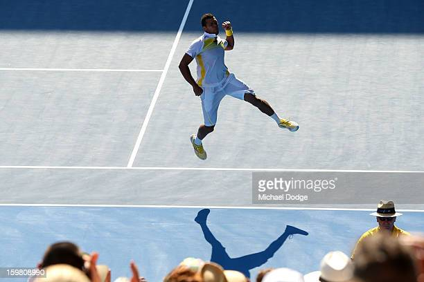 JoWilfried Tsonga of France celebrates winning his fourth round match against Richard Gasquet of France during day eight of the 2013 Australian Open...