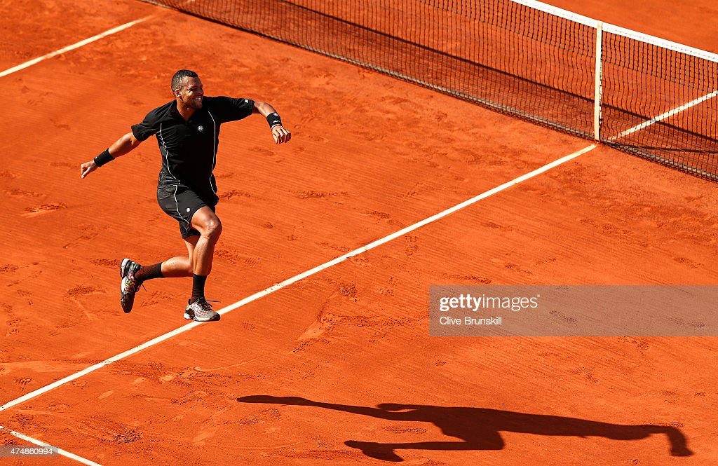 Jo-Wilfried Tsonga of France celebrates winning his Men's Singles match against Dudi Sela of Israel during day four of the 2015 French Open at Roland Garros on May 27, 2015 in Paris, France.