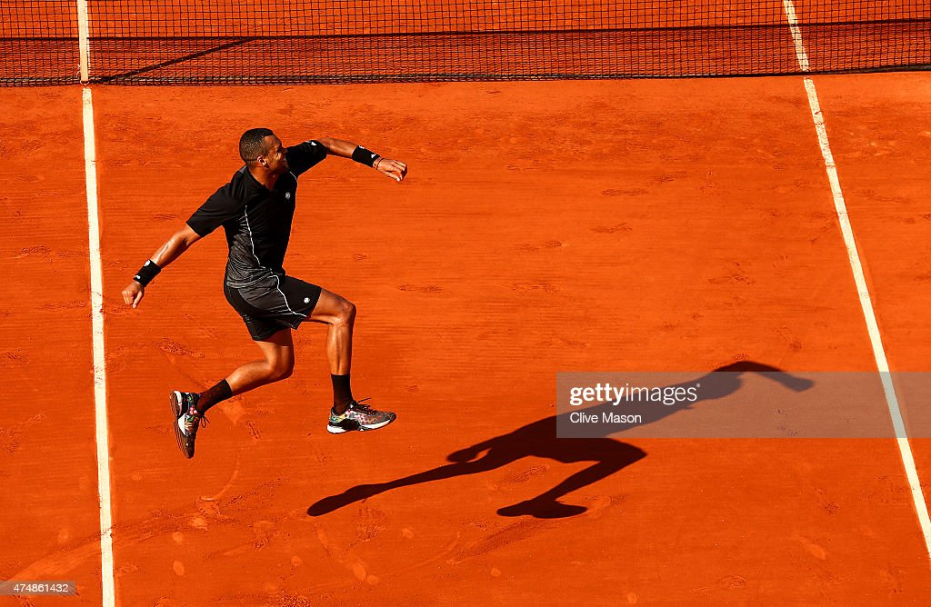 <a gi-track='captionPersonalityLinkClicked' href=/galleries/search?phrase=Jo-Wilfried+Tsonga&family=editorial&specificpeople=553803 ng-click='$event.stopPropagation()'>Jo-Wilfried Tsonga</a> of France celebrates winning his Men's Singles match against Dudi Sela of Israel during day four of the 2015 French Open at Roland Garros on May 27, 2015 in Paris, France.