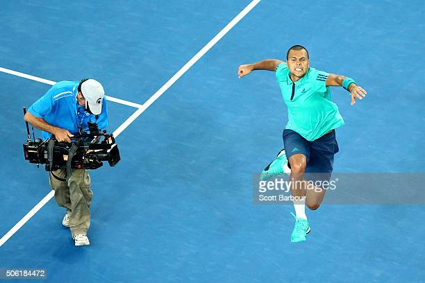JoWilfried Tsonga of France celebrates winning match point in his third round match against PierreHugues Herbert of France during day five of the...