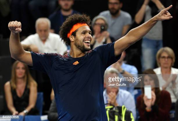 JoWilfried Tsonga of France celebrates winning the final against Lucas Pouille of France at the Open 13 an ATP 250 tennis tournament at Palais des...