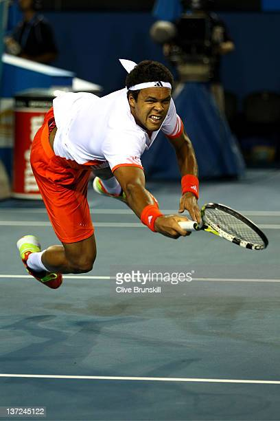 JoWilfried Tsonga of France dives for a shot in his first round match against Denis Istomin of Uzbekistan during day two of the 2012 Australian Open...