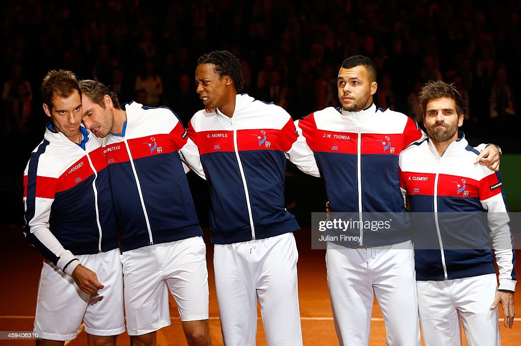 <a gi-track='captionPersonalityLinkClicked' href=/galleries/search?phrase=Jo-Wilfried+Tsonga&family=editorial&specificpeople=553803 ng-click='$event.stopPropagation()'>Jo-Wilfried Tsonga</a> of France, <a gi-track='captionPersonalityLinkClicked' href=/galleries/search?phrase=Gael+Monfils&family=editorial&specificpeople=213774 ng-click='$event.stopPropagation()'>Gael Monfils</a> of France, <a gi-track='captionPersonalityLinkClicked' href=/galleries/search?phrase=Richard+Gasquet&family=editorial&specificpeople=206501 ng-click='$event.stopPropagation()'>Richard Gasquet</a> of France, <a gi-track='captionPersonalityLinkClicked' href=/galleries/search?phrase=Julien+Benneteau&family=editorial&specificpeople=228097 ng-click='$event.stopPropagation()'>Julien Benneteau</a> of France and Captain <a gi-track='captionPersonalityLinkClicked' href=/galleries/search?phrase=Arnaud+Clement&family=editorial&specificpeople=203192 ng-click='$event.stopPropagation()'>Arnaud Clement</a> of France line up for the national anthem during day two of the Davis Cup Tennis Final between France and Switzerland at the Stade Pierre Mauroy on November 22, 2014 in Lille, France.
