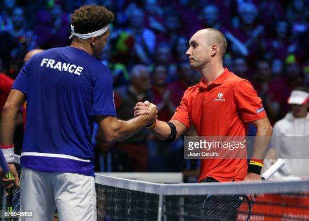 JoWilfried Tsonga of France greets Steve Darcis of Belgium at the net after beating him in 3 sets during day 1 of the Davis Cup World Group Final...