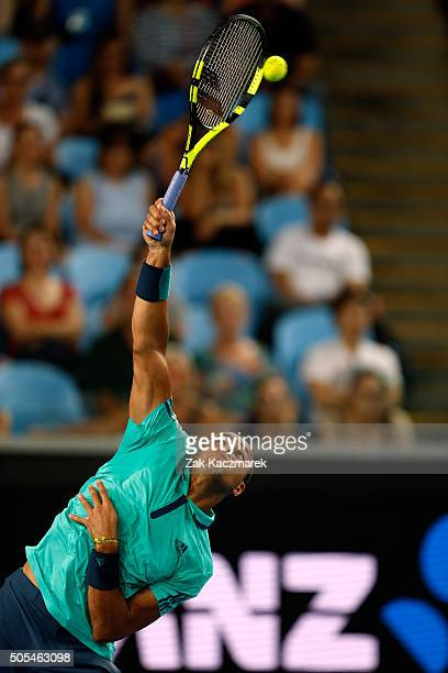 JoWilfried Tsonga of France hits a serve in his first round match against Marcos Baghdatis of Cyprus during day one of the 2016 Australian Open at...