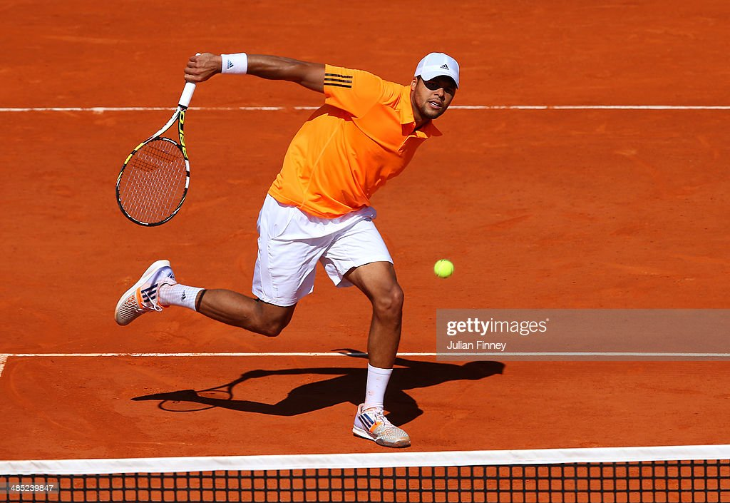 <a gi-track='captionPersonalityLinkClicked' href=/galleries/search?phrase=Jo-Wilfried+Tsonga&family=editorial&specificpeople=553803 ng-click='$event.stopPropagation()'>Jo-Wilfried Tsonga</a> of France in action against Fabio Fognini of Italy during day five of the ATP Monte Carlo Rolex Masters Tennis at Monte-Carlo Sporting Club on April 17, 2014 in Monte-Carlo, Monaco.