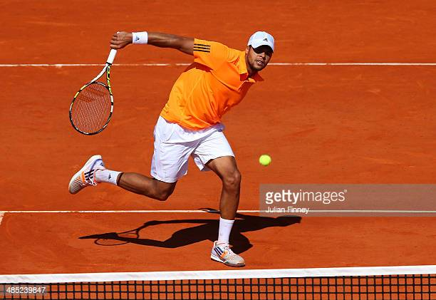 JoWilfried Tsonga of France in action against Fabio Fognini of Italy during day five of the ATP Monte Carlo Rolex Masters Tennis at MonteCarlo...