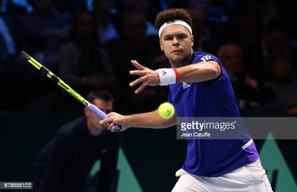 JoWilfried Tsonga of France in action against Steve Darcis of Belgium during day 1 of the Davis Cup World Group Final between France and Belgium at...