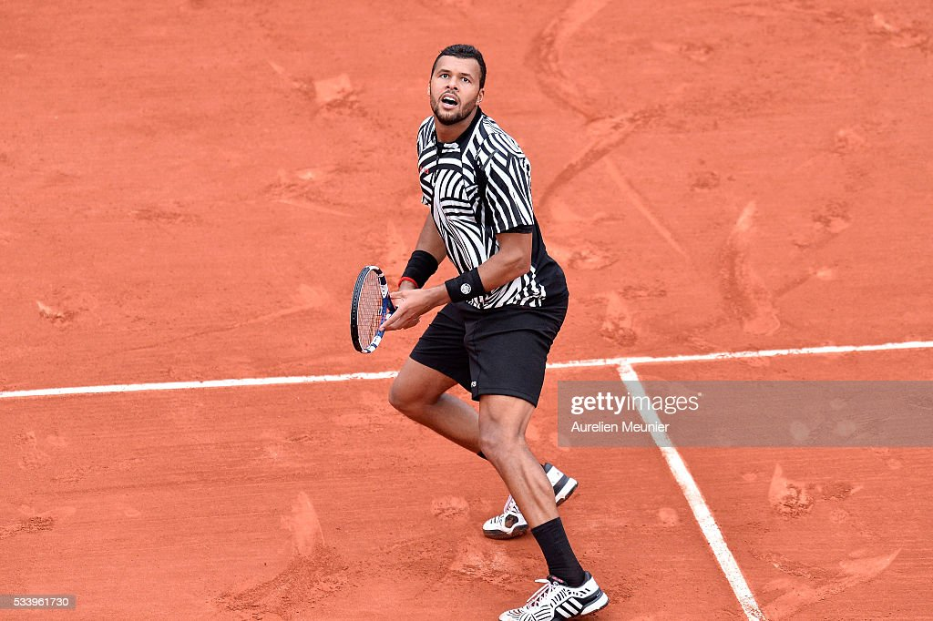 Jo-Wilfried Tsonga of France in action during his men's single first round match against Jan-Lennard Struff of Germany at Roland Garros on May 24, 2016 in Paris, France.