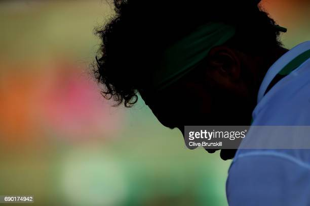 JoWilfried Tsonga of France in action during the first round match against Renzo Olivo of Argentina on day three of the 2017 French Open at Roland...