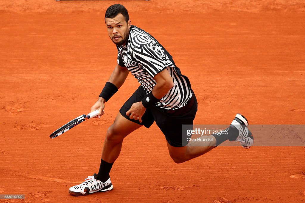 <a gi-track='captionPersonalityLinkClicked' href=/galleries/search?phrase=Jo-Wilfried+Tsonga&family=editorial&specificpeople=553803 ng-click='$event.stopPropagation()'>Jo-Wilfried Tsonga</a> of France in action during the Men's Singles first round match against Jan-Lennard Struff of Germany on day three of the 2016 French Open at Roland Garros on May 24, 2016 in Paris, France.