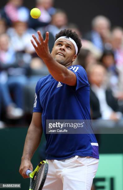 JoWilfried Tsonga of France in action on day three of the Davis Cup World Group tie between France and Serbia at Stade Pierre Mauroy on September 17...