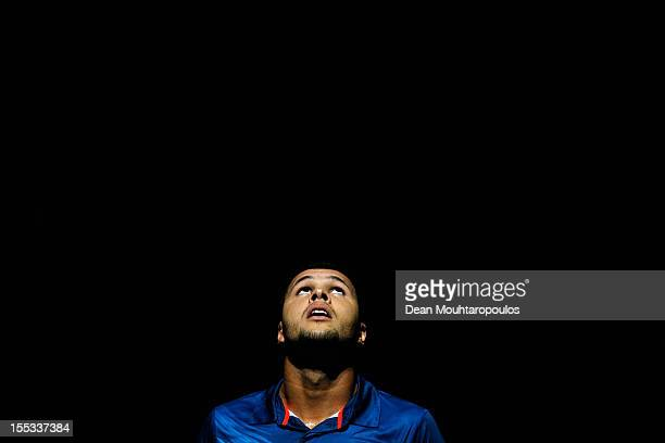 JoWilfried Tsonga of France looks at the scoreboad between sets against David Ferrer of Spain in the Quarter Finals on day 5 of the BNP Paribas...