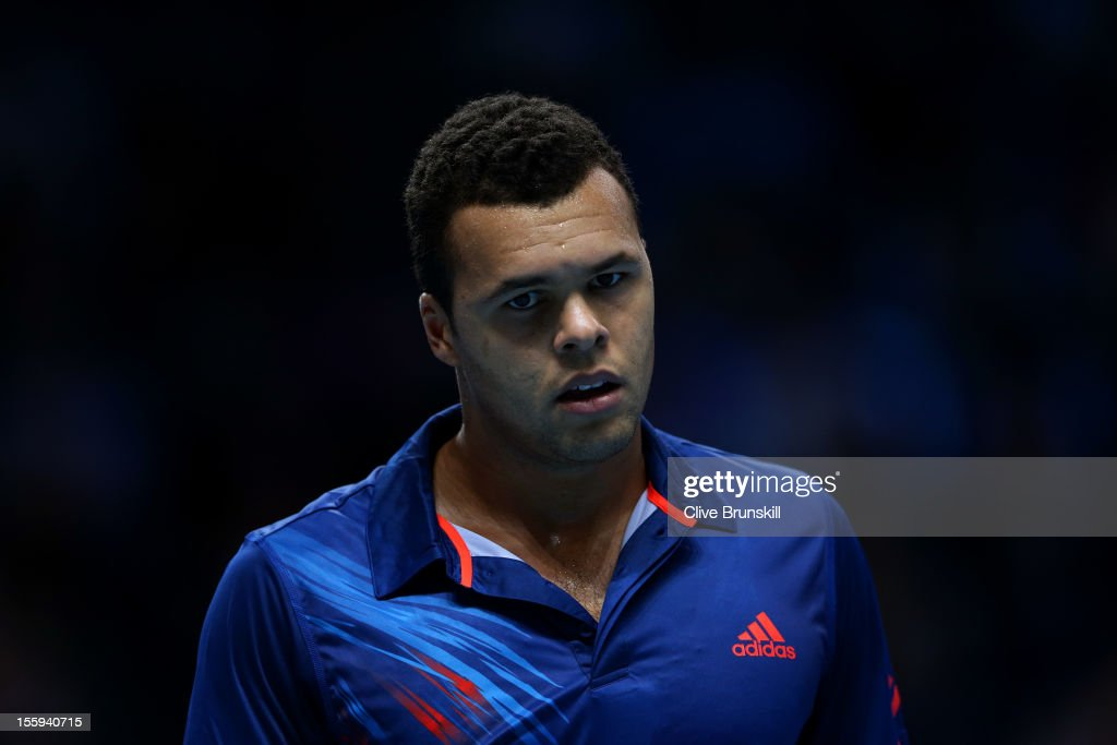 <a gi-track='captionPersonalityLinkClicked' href=/galleries/search?phrase=Jo-Wilfried+Tsonga&family=editorial&specificpeople=553803 ng-click='$event.stopPropagation()'>Jo-Wilfried Tsonga</a> of France looks on during his men's singles match against Andy Murray of Great Britain on day five of the ATP World Tour Finals at O2 Arena on November 9, 2012 in London, England.