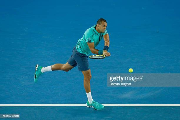 JoWilfried Tsonga of France plays a backhand in his first round match against Marcos Baghdatis of Cyprus during day one of the 2016 Australian Open...