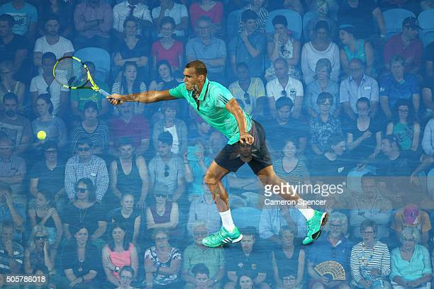 JoWilfried Tsonga of France plays a forehand during his second round match against Omar Jaskia of Australia during day three of the 2016 Australian...