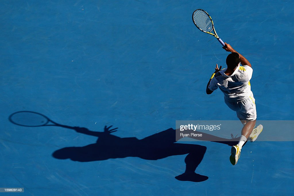 <a gi-track='captionPersonalityLinkClicked' href=/galleries/search?phrase=Jo-Wilfried+Tsonga&family=editorial&specificpeople=553803 ng-click='$event.stopPropagation()'>Jo-Wilfried Tsonga</a> of France plays a forehand in his fourth round match against Richard Gasquet of France during day eight of the 2013 Australian Open at Melbourne Park on January 21, 2013 in Melbourne, Australia.