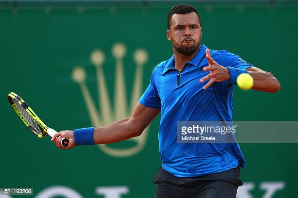 JoWilfried Tsonga of France plays a forehand return during his match against Lucas Pouille of France during day five of the Monte Carlo Rolex Masters...