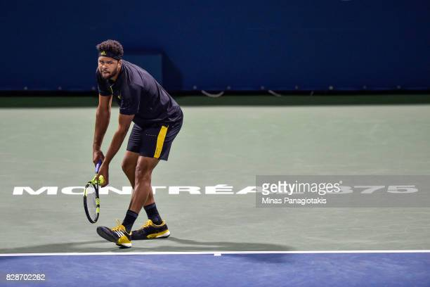JoWilfried Tsonga of France prepares to serve against Sam Querrey of the United States during day six of the Rogers Cup presented by National Bank at...