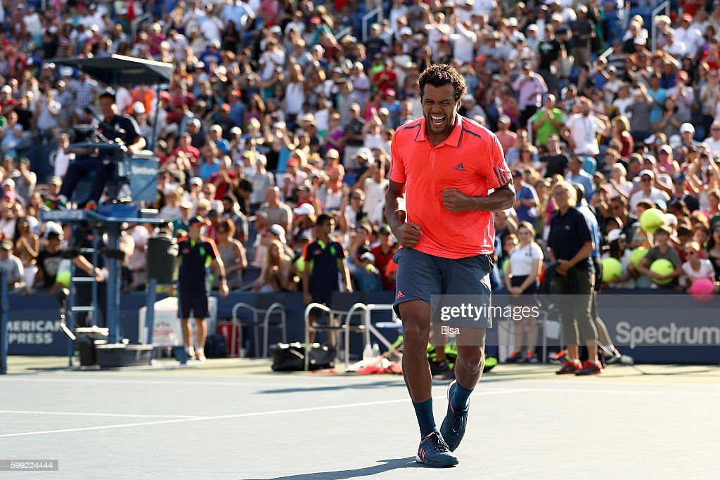 Jo-Wilfried Tsonga of France reacts after defeating Jack Sock of the United States during his fourth round Men's Singles match on Day Seven of the 2016 US Open at the USTA Billie Jean King National Tennis Center on September 4, 2016 in the Flushing neighborhood of the Queens borough of New York City.