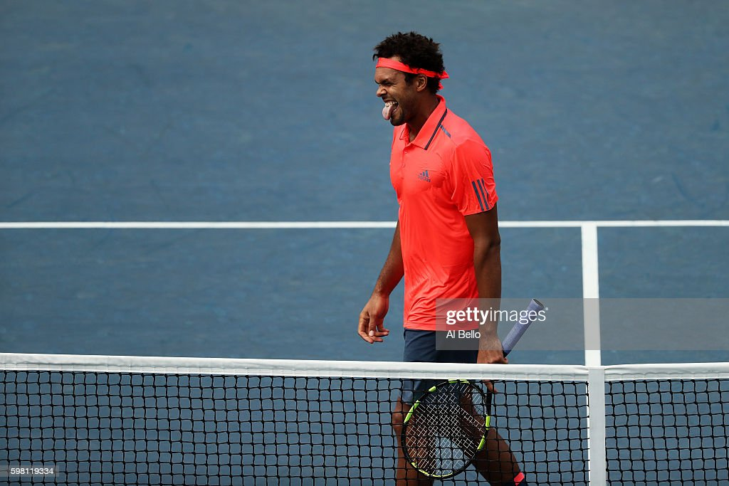 Jo-Wilfried Tsonga of France reacts against James Duckworth of Australia during his second round Men's Singles match on Day Three of the 2016 US Open at the USTA Billie Jean King National Tennis Center on August 31, 2016 in the Flushing neighborhood of the Queens borough of New York City.