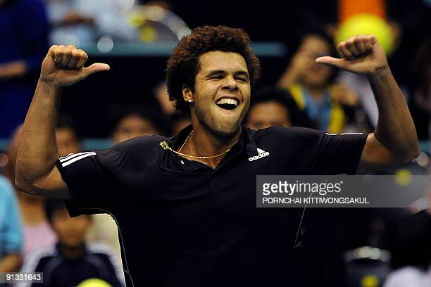 JoWilfried Tsonga of France reacts against Macro Chiudinelli of Switzerland during their quarterfinal round of ATP Thailand Open tennis tournament...
