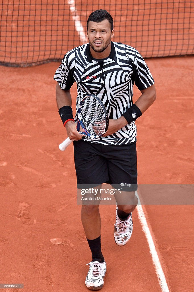 Jo-Wilfried Tsonga of France reacts during his men's single first round match against Jan-Lennard Struff of Germany at Roland Garros on May 24, 2016 in Paris, France.