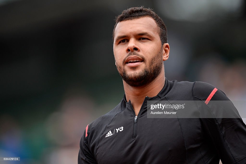 <a gi-track='captionPersonalityLinkClicked' href=/galleries/search?phrase=Jo-Wilfried+Tsonga&family=editorial&specificpeople=553803 ng-click='$event.stopPropagation()'>Jo-Wilfried Tsonga</a> of France reacts during his men's single second round match against Marcos Baghaditis of Cyprus on day five of the 2016 French Open at Roland Garros on May 26, 2016 in Paris, France.