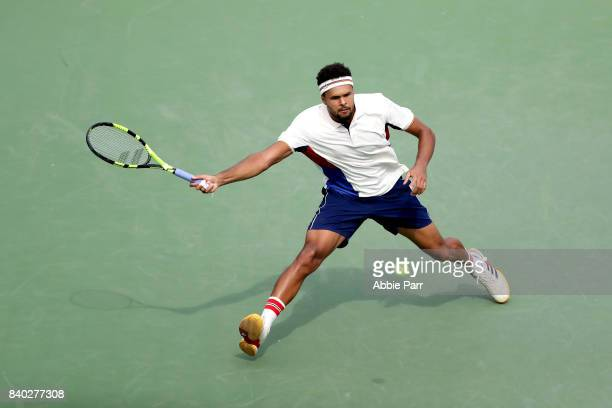 JoWilfried Tsonga of France returns a shot during his first round Men's Singles match against Marius Copil of Romania on Day One of the 2017 US Open...