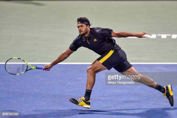 JoWilfried Tsonga of France runs for the ball against Sam Querrey of the United States during day six of the Rogers Cup presented by National Bank at...