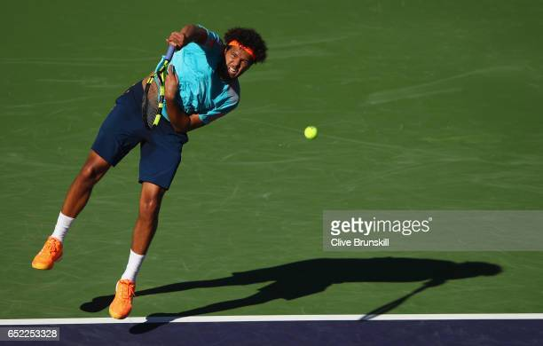 JoWilfried Tsonga of France serves against Fabio Fognini of Italy during day six of the BNP Paribas Open at Indian Wells Tennis Garden on March 11...