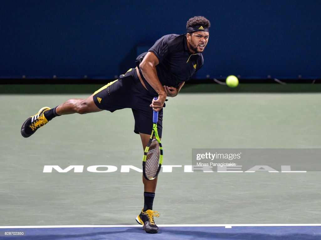 Jo-Wilfried Tsonga of France serves against Sam Querrey of the United States during day six of the Rogers Cup presented by National Bank at Uniprix Stadium on August 9, 2017 in Montreal, Quebec, Canada.