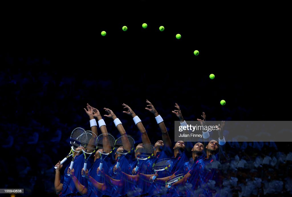 <a gi-track='captionPersonalityLinkClicked' href=/galleries/search?phrase=Jo-Wilfried+Tsonga&family=editorial&specificpeople=553803 ng-click='$event.stopPropagation()'>Jo-Wilfried Tsonga</a> of France serves during his men's singles match against Andy Murray of Great Britain on day five of the ATP World Tour Finals at O2 Arena on November 9, 2012 in London, England.