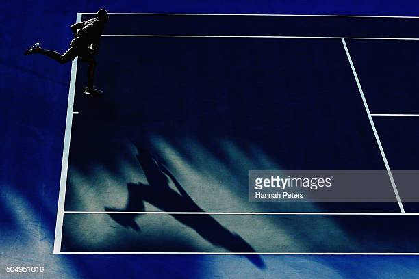 JoWilfried Tsonga of France serves during his second round singles match against Fabio Fognini of Italy during the 2016 ASB Classic at the ASB Tennis...