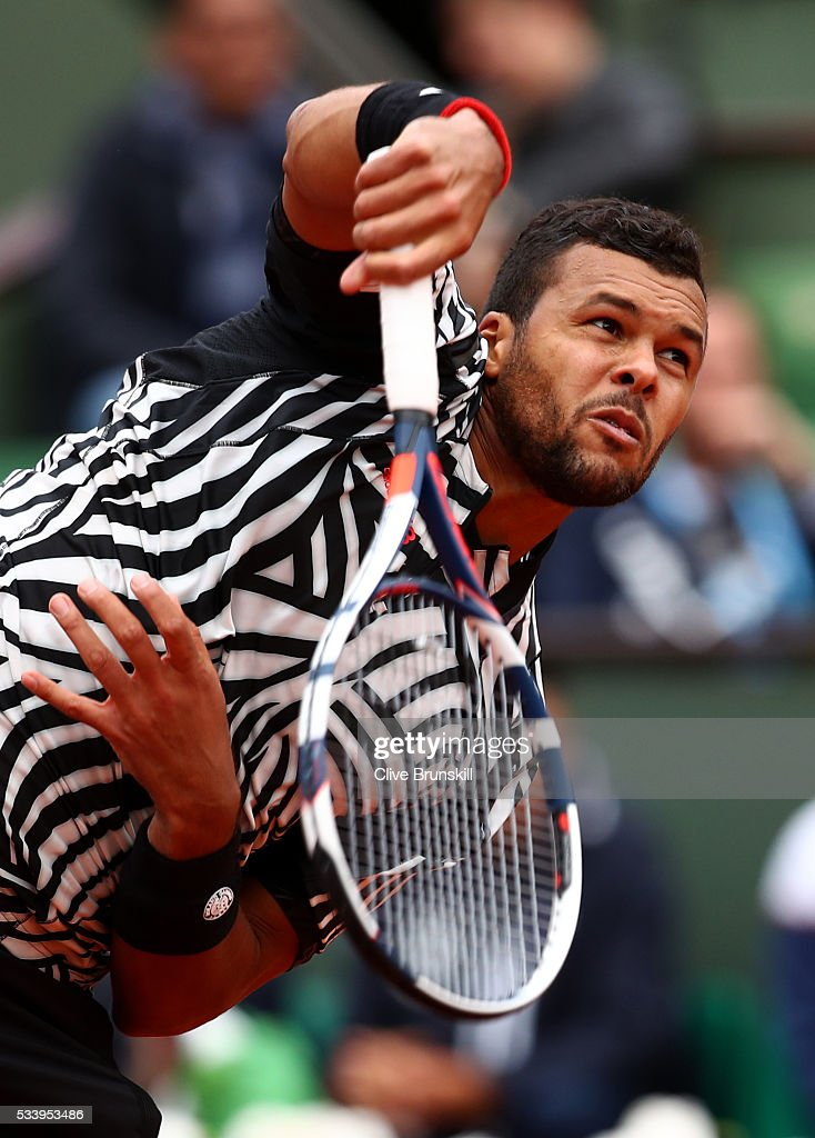<a gi-track='captionPersonalityLinkClicked' href=/galleries/search?phrase=Jo-Wilfried+Tsonga&family=editorial&specificpeople=553803 ng-click='$event.stopPropagation()'>Jo-Wilfried Tsonga</a> of France serves during the Men's Singles first round match against Jan-Lennard Struff of Germany on day three of the 2016 French Open at Roland Garros on May 24, 2016 in Paris, France.
