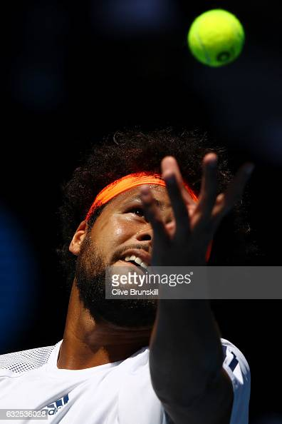 JoWilfried Tsonga of France serves in his quarterfinal match against Stan Wawrinka of Switzerland on day nine of the 2017 Australian Open at...