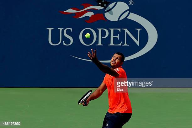 JoWilfried Tsonga of France serves to Sergiy Stakhovsky of Ukraine during their Men's Singles Third Round match on Day Five of the 2015 US Open at...