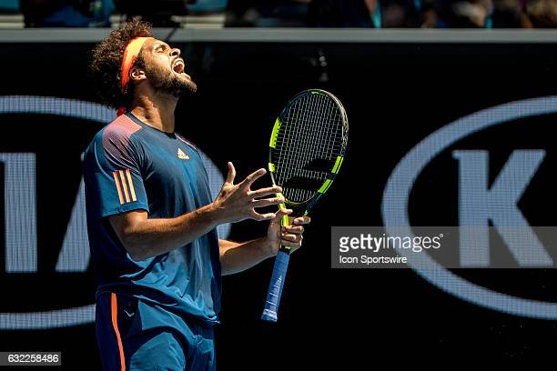 JoWilfried Tsonga of France yells to released the frustration that he has built up during the third round of the 2017 Australian Open on January 20...