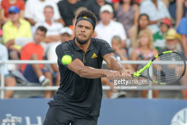 JoWilfried Tsonga returns a serve during the Western Southern Open at the Lindner Family Tennis Center in Mason Ohio on August 15 2017