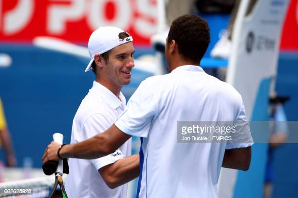 JoWilfried Tsonga shakes hands with Richard Gasquet after their match on day seven of the Australian Open
