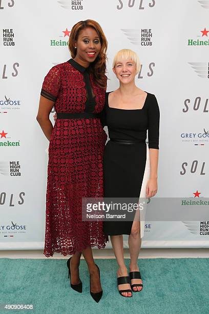 Joy Altimare SOLS vice president of marketing and Kegan Schouwenburg SOLS Founder and CEO attend the SOLS launch party for the new SOLS Flex on...