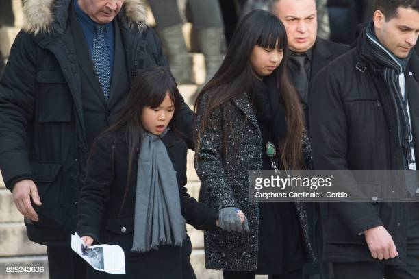 Joy and Jade Hallyday during Johnny Hallyday's Funeral at Eglise De La Madeleine on December 9 2017 in Paris France France pays tribute to Johnny...