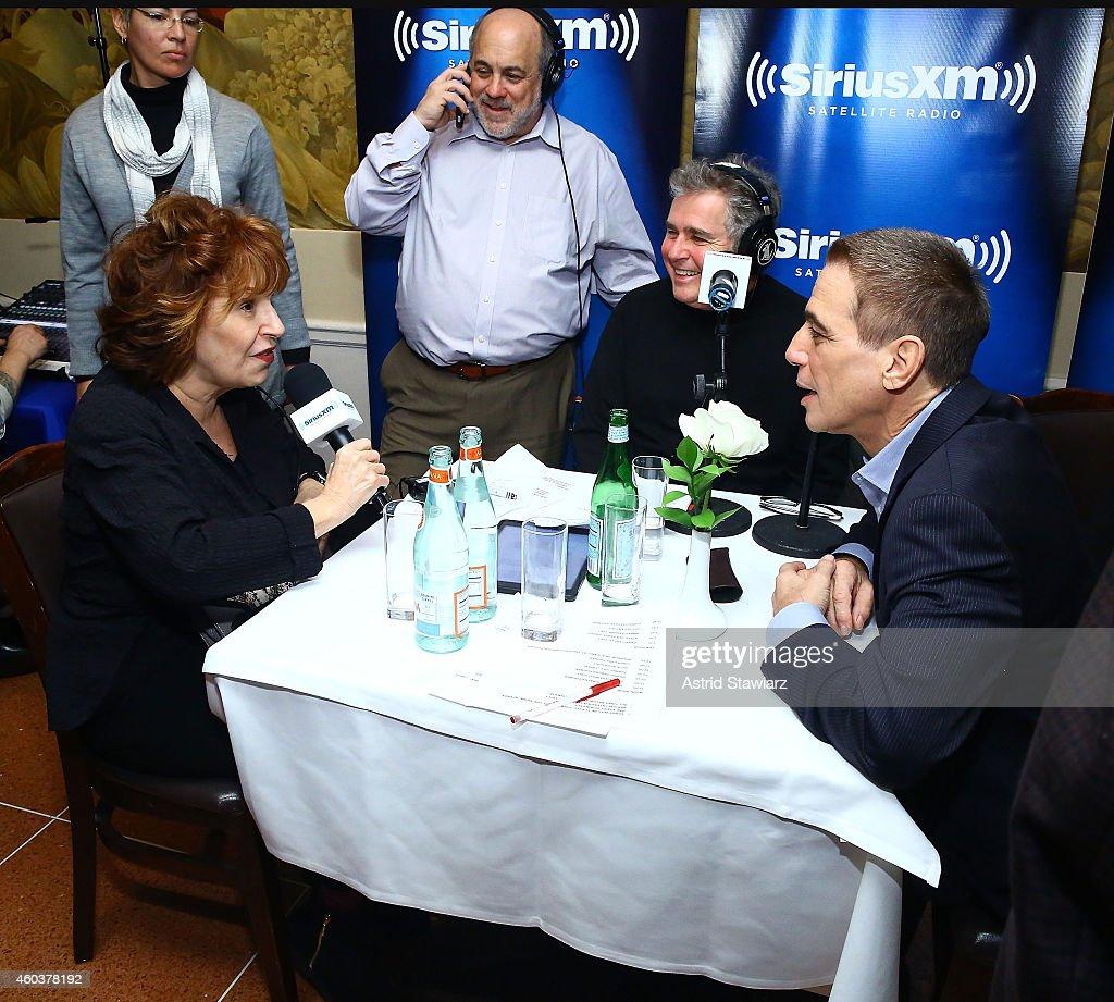 Joy Behar talks with SiriusXM host Steve Tyrell and actor Tony Danza at SiriusXM Celebrates Frank Sinatra's 99th Birthday Live On SiriusXM's...