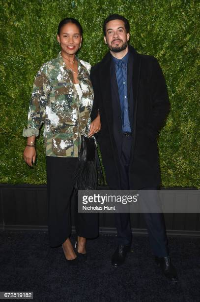 Joy Bryant and Ezra Edelman attend the CHANEL Tribeca Film Festival Artists Dinner at Balthazar on April 24 2017 in New York City