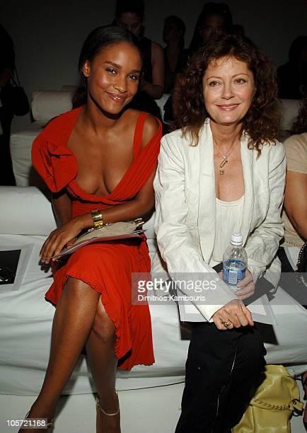 Joy Bryant and Susan Sarandon during Olympus Fashion Week Spring 2006 Donna Karan Front Row and Backstage at 711 Greenwich Street in New York City...