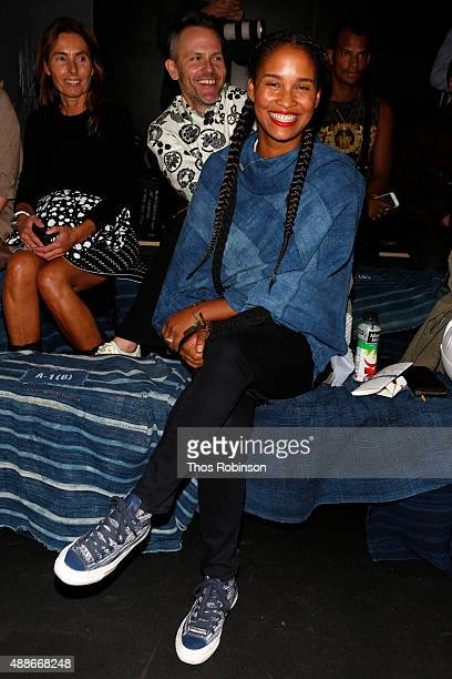 Joy Bryant attends Greg Lauren front row Spring 2016 during New York Fashion Week The Shows at The Dock Skylight at Moynihan Station on September 16...